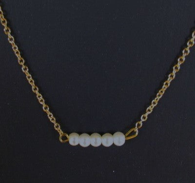 Bar Necklace - Glass Pearls 5 Gold Tone Stainless Steel Chain