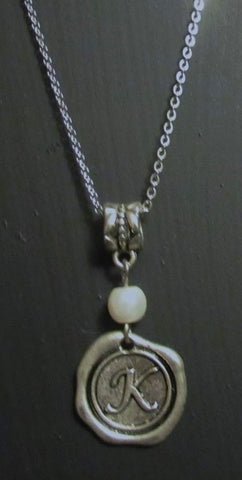 Initial Necklace - Pearl  20 Inch Stainless Steel Chain