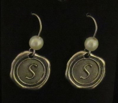 Initial Earring - Short Medium Size (6mm) Pearl