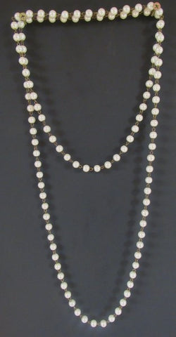 Layering Necklace 60 Inch - Pearls and Antique Bronze