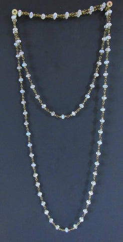 Layering Necklace - 60 inch Crystal adn Antique Bronze
