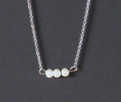 Bar Necklace - Glass Pearls 3 Silver Tone Stainless Steel Silver Chain