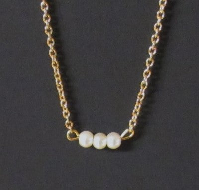 Bar Necklace -  Glass Pearls 3 Golden Tone Stainless Steel Chain