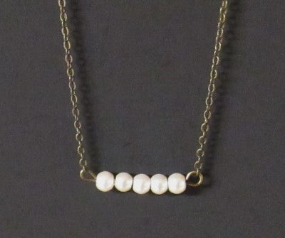 Bar Necklace - Glass Pearls 5 Bronze Tone Brass Necklace