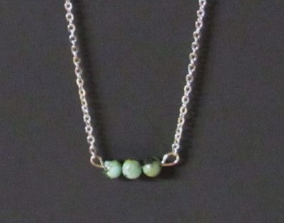 Bar Necklace - Silver Tone 3 African Turquoise Beads