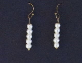 Bar Jewelry - Bronze Tone 5 Glass Pearl Earrings