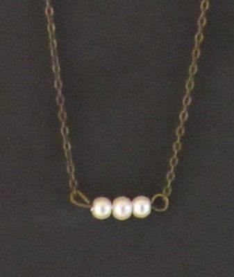 Bar Necklace - Glass Pearls 3 Bronze Tone Brass Chain