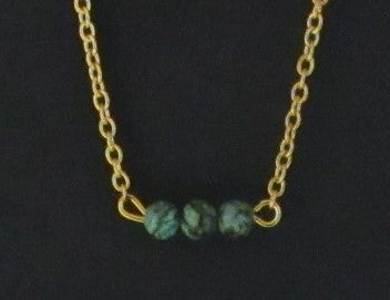 Bar Necklace - Gold Tone 3 African Turquoise Beads