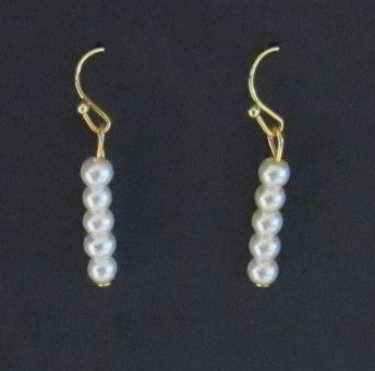 Bar Earrings - Gold Tone 5 Glass Pearl