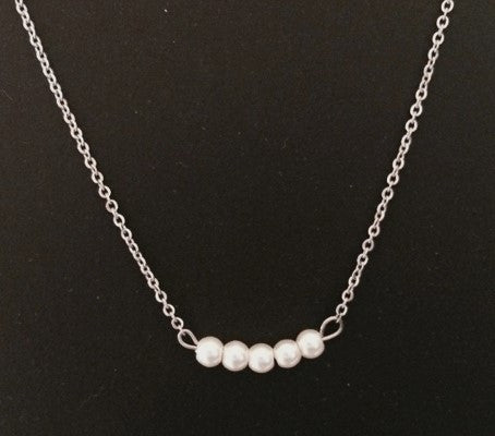 Bar Necklace - Glass Pearls 5 Silver Tone Stainless Steel Chain