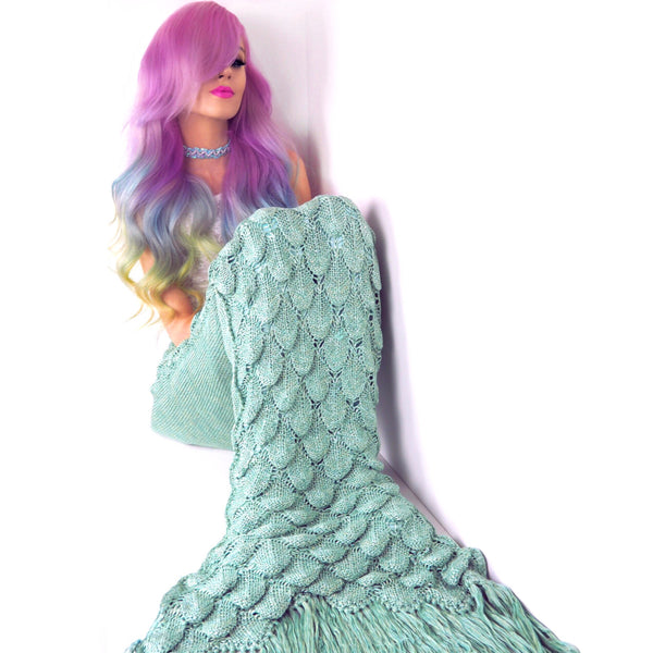 Mermaid Amy in her Seatail Seafoam Mermaid Tail Blanket