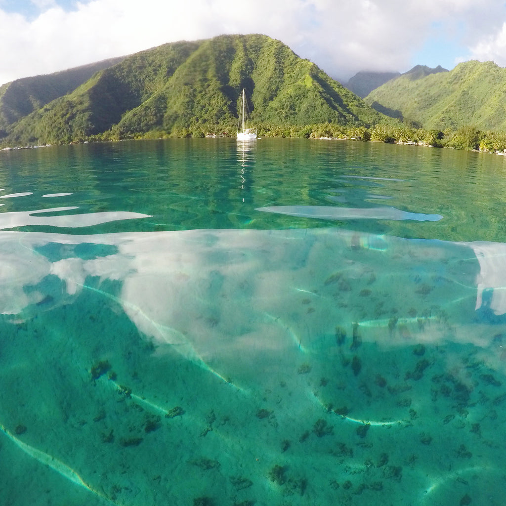 Sailboat in the lagoon of Tahiti
