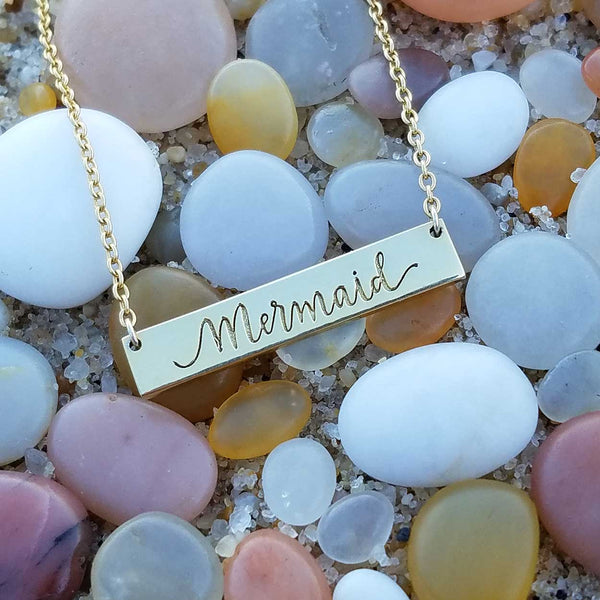 Mermaid Bar Necklace Gold - Quality