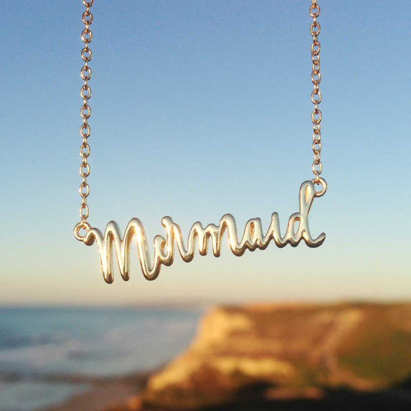 Mermaid Word Necklace in Gold - Adorable Gift for Teens who Love Mermaids
