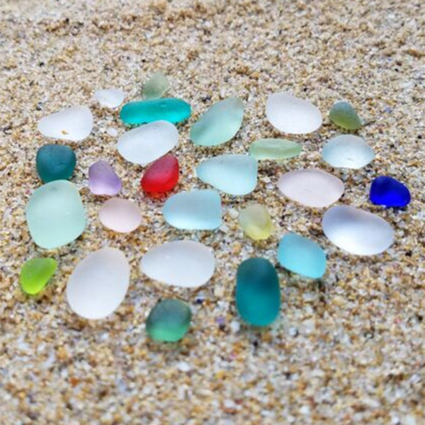 Sea glass beauties in the sand