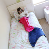 Kids Mermaid Tail Blanket, Coral Pink & Green