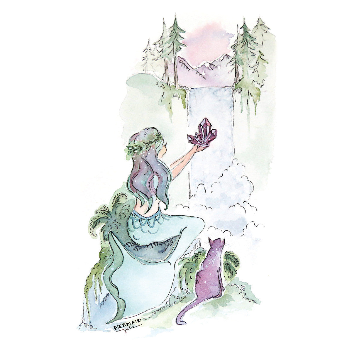 Design Bathroom Amethyst Forest Mermaid Art Print 5x7 Seatail
