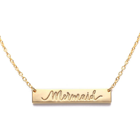 Mermaid Bar Necklace Gold Seatail