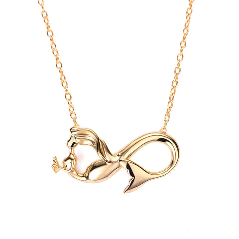 Mermaid Forever ~ Infinity Mermaid Charm Necklace Gold & Silver by Mermaid Julie, Seatail