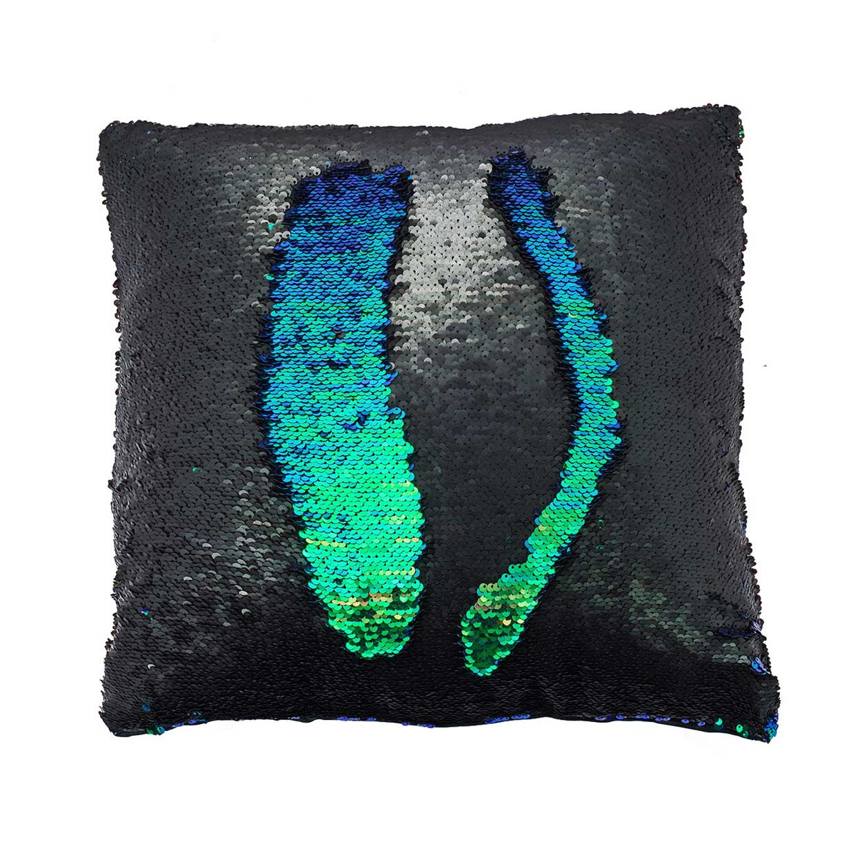 mermaid pillow sequin covered color changing in black and green - Color Changing Pillow