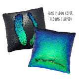 Mermaid Pillow Sequins Green and Black
