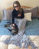 Silver Knit Elegant Mermaid Tail Blanket for Adults