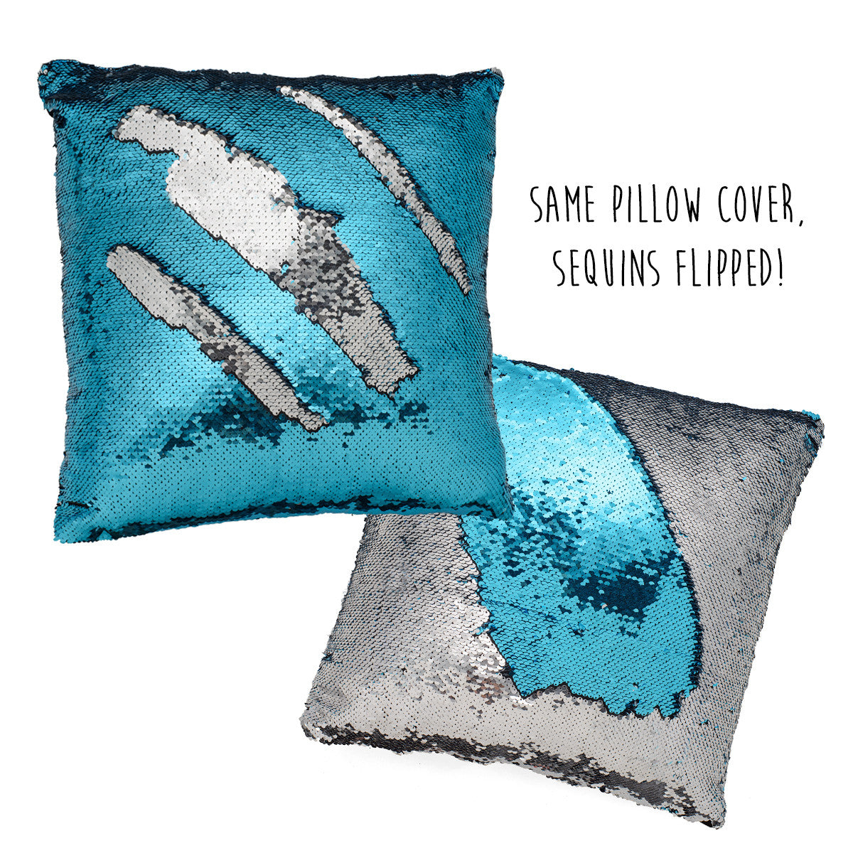 mermaid decor sequin mermaid pillow color changing silver and blue - Color Changing Pillow