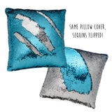 Mermaid Decor Sequin Mermaid Pillow Color Changing Silver and Blue