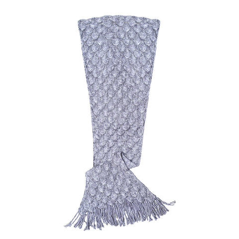 Silver Grey Mermaid Tail Blanket Knit Cotton with Silky Liner by Seatail