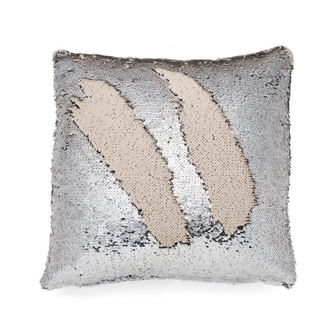 Mermaid Pillow Sequin Color Changing Silver and Cream