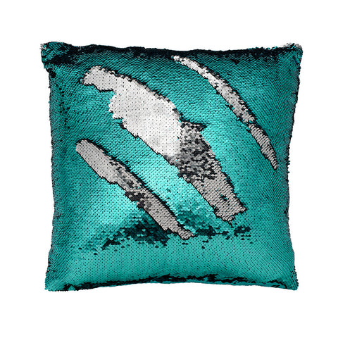 Teal and Silver Mermaid Pillow Cover ~ Color Changing Sequins