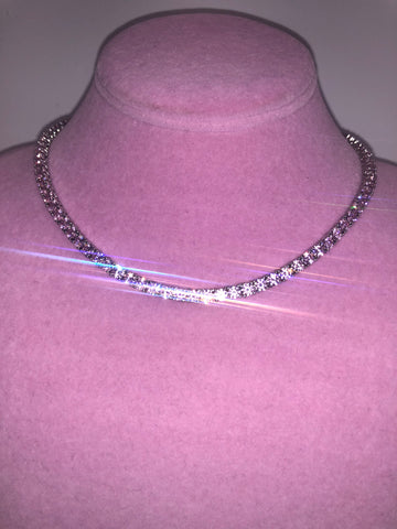 Ladies Thin Bling Tennis Chain (Silver with Pink Stones)