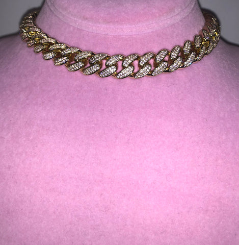 Ladies Thin Bling C Link Choker (Gold with Pink Stones)