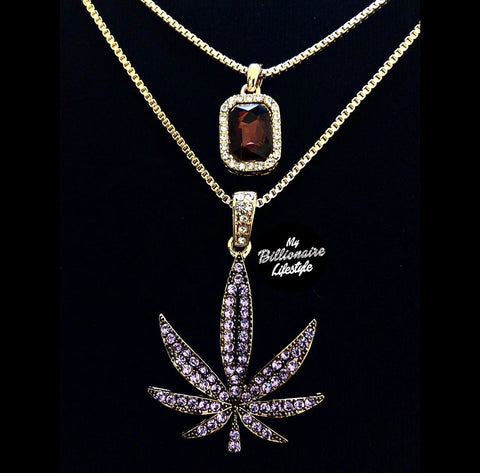 Purple Stone / Purple MJ Leaf Set