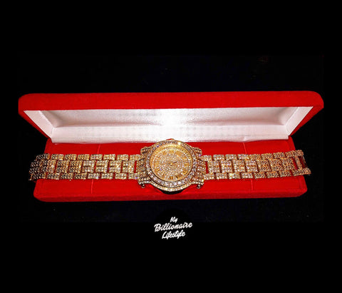 Gold or Silver bling watch Billionaire Box