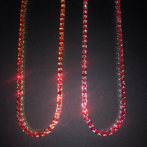 Tennis Chain with Red Stones