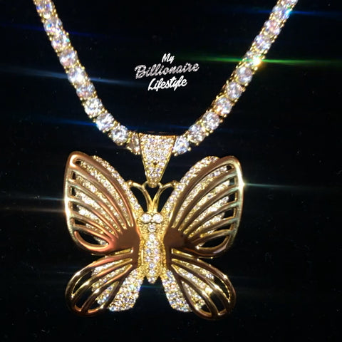 Butterfly on Thin Bling Chain (Gold with Clear stones)