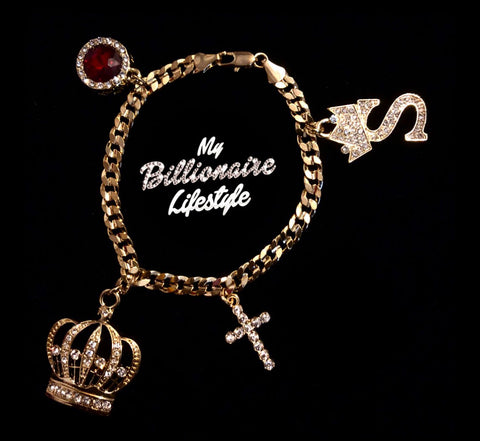 Crown Letter Bracelet (Gold)
