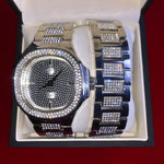 Silver Iced out Watch in Gift Box