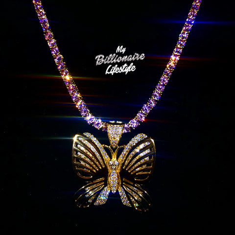 Butterfly on Thin Bling Chain (Gold with Pink stones)