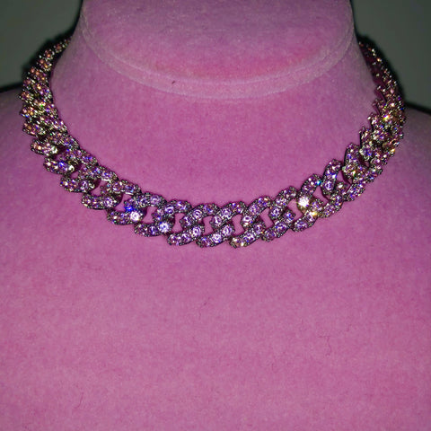 Ladies Bling C Link Choker (Silver with Big Pink Stones)
