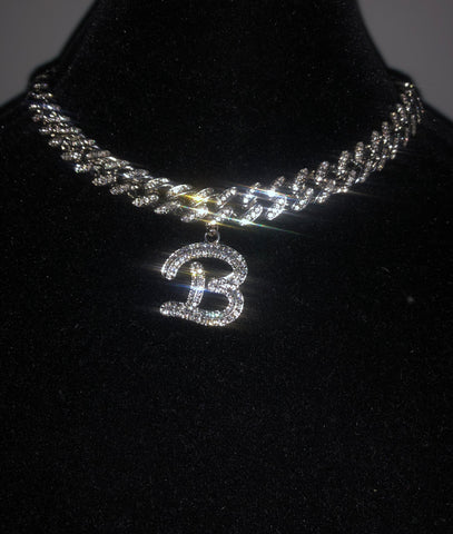 Cursive Letter on Bling C Link (Silver)