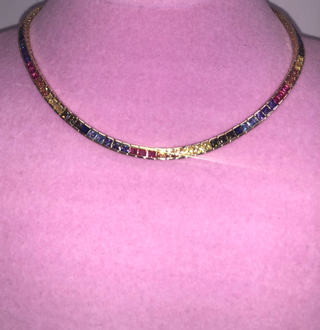 Ladies Thin Bling Multicolor Tennis Chain