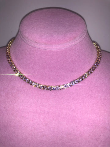 Ladies Thin Bling Tennis Chain (Gold with Pink Stones)