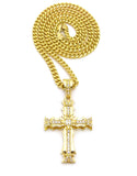 Cross with Stones on Cuban Link Chain