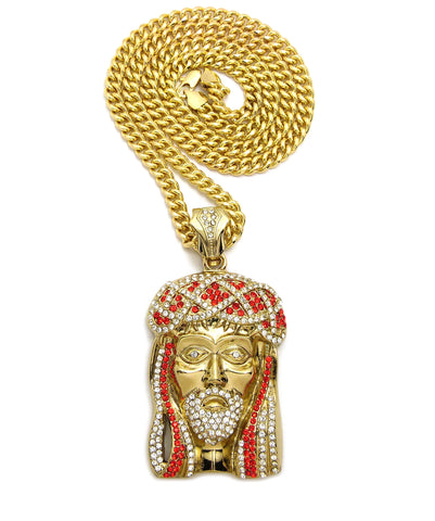 Jesus Piece Red and Clear Stones (Gold)