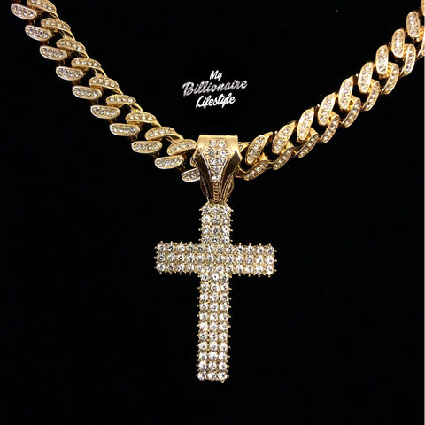 Three Row Cross on Bling Cuban (Gold)