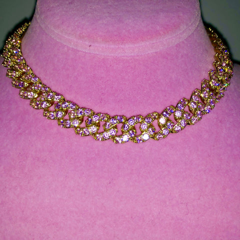Ladies Bling C Link Choker (Gold with Big Pink Stones)