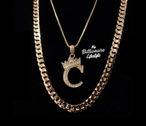 Crown Letter / Cuban Link Set