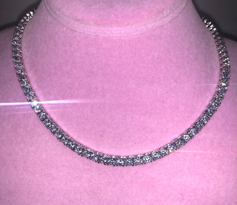 Ladies Thin Bling C Tennis Choker (Silver with Clear Stones)